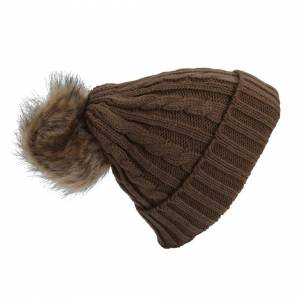 Universal Textiles (One Size, Chocolate Brown) Womens/Ladies Cable Knit Winter Beanie Hat With Faux