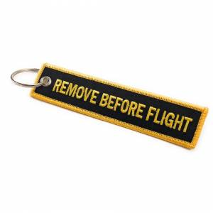 AVIAMART (Black / Yellow) Remove Before Flight Keychain   Multi Colours   aviamart®