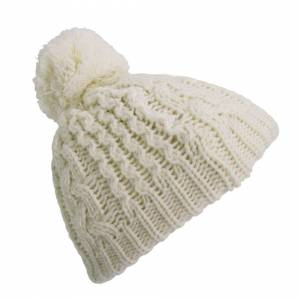 Universal Textiles (One Size, Cream) Baby Boys/Girls Cable Knit Winter Beanie Hat With Pom Pom