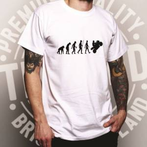 Tim And Ted (XXL, Black) Biker T Shirt Evolution of a Motorbike Rider Motorcycle High Speed