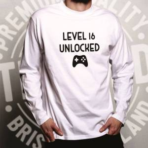 Tim And Ted (S, Grey) Gamers 16th Birthday Long Sleeve Level 16 Unlocked Slogan Console PC V