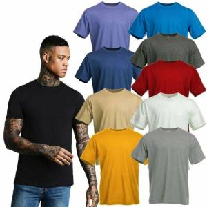 Blue Mountain (Blue, XXL) Blue Mountain Basics Men's Short Sleeve Plain Casual Cotton Tee Shir