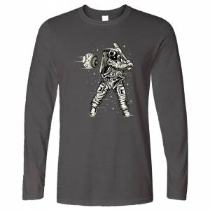 Tim And Ted (M, Dark Grey) Geeky Sports Long Sleeve Astronaut Space Baseball Art Planet Moon