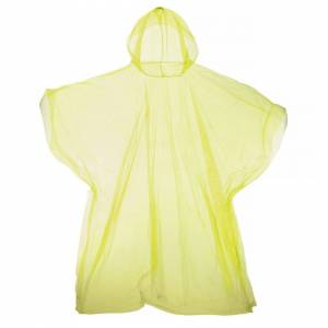 Universal Textiles (One Size, Yellow) Hooded Plastic Reusable Poncho