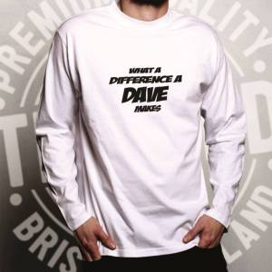 Tim And Ted (L, Dark Grey) Novelty Long Sleeve What A Difference A Dave Makes Slogan Joke T-