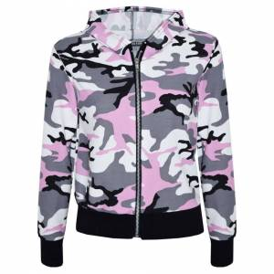 a2zkids (9-10 Years) Kids Girls Jacket Designer Camouflage Print Baby Pink Hooded Jacket