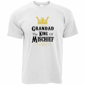 Tim And Ted (XXL, White) Father's Day T-Shirt - Grandad, The King Of Mischief Novelty Slogan