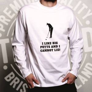 Tim And Ted (L, White) Novelty Golfing Long Sleeve I Like Big Putts Parody Slogan Sports T-S