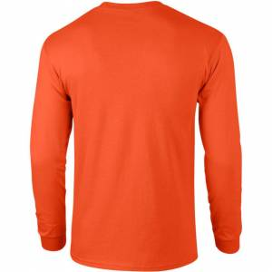 Gildan (XL, Orange) Gildan Mens Plain Crew Neck Ultra Cotton Long Sleeve T-Shirt