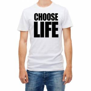 RED&WHITE CO. (L) Choose Life WHAM Men White T Shirt Retro 80s
