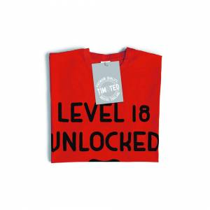 Tim And Ted (5XL, White) Gamers 18th Birthday T Shirt Level 18 Unlocked Slogan Console PC Vi