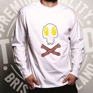 Tim And Ted (XL, Grey) Breakfast Long Sleeve Bacon And Egg Skull & Crossbones Skeleton Hallo