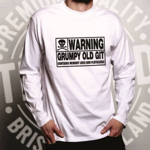 Tim And Ted (XXL, Dark Grey) Novelty Long Sleeve Warning, Grumpy Old Git Slogan Joke Birthda