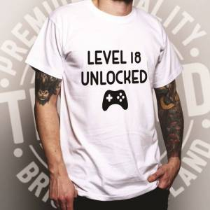 Tim And Ted (M, White) Gamers 18th Birthday T Shirt Level 18 Unlocked Slogan Console PC Vide