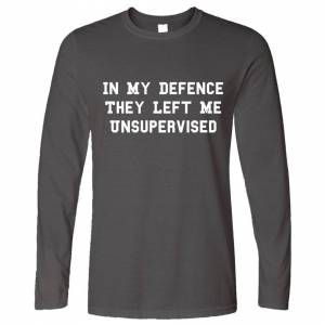 Tim And Ted (L, Dark Grey) Joke Long Sleeve In My Defence They Left Me Unsupervised Funny Sl