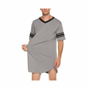 Slowmoose (Gray, XL) Men Cotton Nightshirt Sleep Tops, Short Sleeve, V-neck, Soft Loose Ni