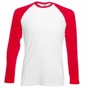 Fruit Of The Loom (XL, White/Red) Fruit Of The Loom Mens Long Sleeve Baseball T-Shirt