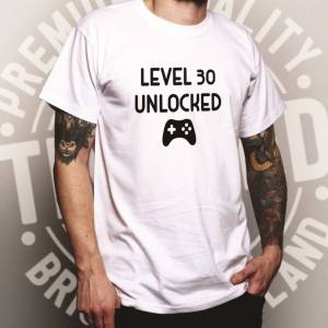 Tim And Ted (L, White) Gamers 30th Birthday T Shirt Level 30 Unlocked Slogan Console PC Vide