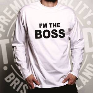 Tim And Ted (L, Black) Novelty Vanity Long Sleeve I'm The Boss Slogan Head Work Manager Job
