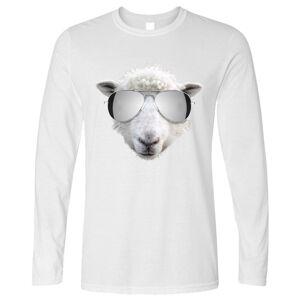 Tim And Ted (M, White) Summer Art Long Sleeve Sheep Wearing Aviator Sunglasses Silly Stylish