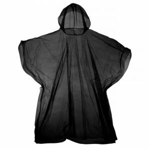 Universal Textiles (One Size, Black) Hooded Plastic Reusable Poncho