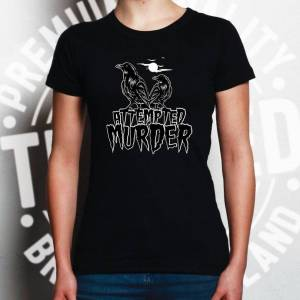 Tim And Ted (XL, White) Halloween Womens TShirt Attempted Murder Crow Pun Horror Moon Flock