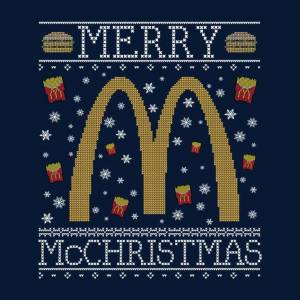 Cloud City 7 (Small, Navy Blue) Merry McChristmas McDonalds Christmas Knit Pattern Women's T-
