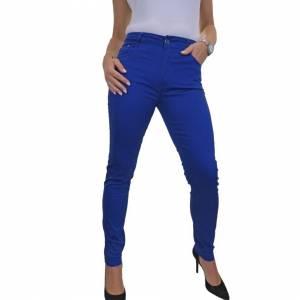 icecoolfashion (Royal Blue, 16) Women's High Waist Jeans Stretch Chino Sheen Slim Leg Ladies St