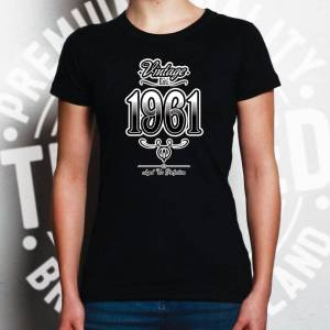 Tim And Ted (L, White) 60th Birthday Womens TShirt Vintage 1961 Aged To Perfection Tee