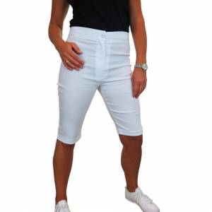 icecoolfashion (White, 12) Womens High Waist Skinny Stretch Pedal Pusher Style Shorts Ladies Su