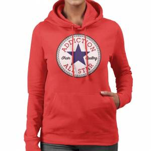 Cloud City 7 (X-Large, Red) Trainspotting T2 Addiction Converse Logo Women's Hooded Sweatshir