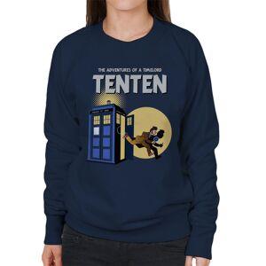 Cloud City 7 (Medium) Doctor Who Tintin Tenth Doctor Mashup Women's Sweatshirt