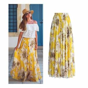 Slowmoose (Yellow, M) Floral Long Maxi, Full Skirt For Women,s