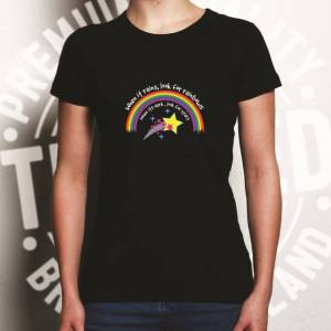 Tim And Ted (XL, White) Inspirational Womens TShirt When It Rains, Look For Rainbows Slogan