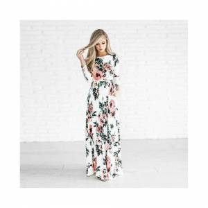 Unbranded Women Floral Print Long Sleeve Beach Dress Lady Evening Party Long Maxi White Dr