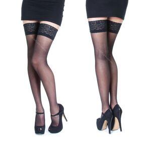 Sentelegri (Black, S) NEW Lace Top 20 Denier Sheer Hold Ups Stockings 17 Various Colours- S
