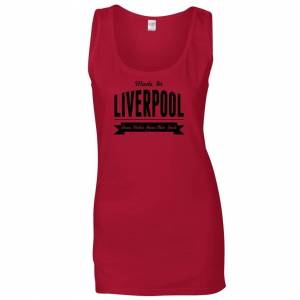 Tim And Ted (XXL, Red) Hometown Pride Ladies Vest Made in Liverpool Banner Novelty Logo Slog