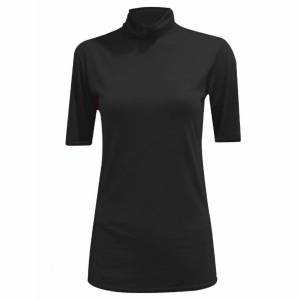 21Fashion (Black, M/L UK 12-14 US 8-10) Womens Plain Polo Neck Top Short Sleeve Jumper