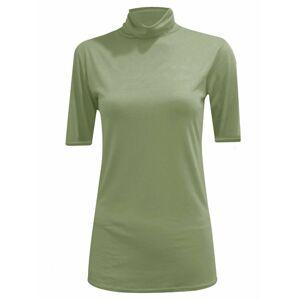 21Fashion (Khaki, M/L UK 12-14 US 8-10) Womens Plain Polo Neck Top Short Sleeve Jumper