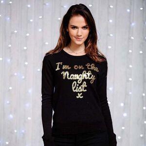 Christmas Shop (S UK, Black) Christmas Shop Womens/Ladies Sequin Im on the Naughty List Jumper