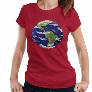 Cloud City 7 (X-Large, Cherry Red) Pixel Globe Women's T-Shirt