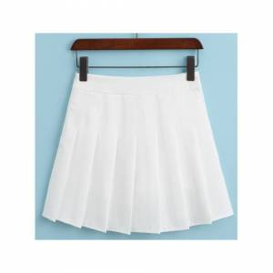 JS One (1. White, XS / UK Size 4) Women's High Waist Pleated Casual Tennis Style Mini S