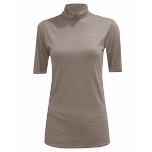 21Fashion (Mocha, M/L UK 12-14 US 8-10) Womens Plain Polo Neck Top Short Sleeve Jumper