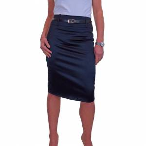 icecoolfashion (Satin Navy Blue, 10) Women's Stretch Satin Pencil Skirt Bodycon Party With Belt