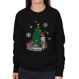 Cloud City 7 (X-Large, Black) Betty Boop Around The Christmas Tree Women's Sweatshirt