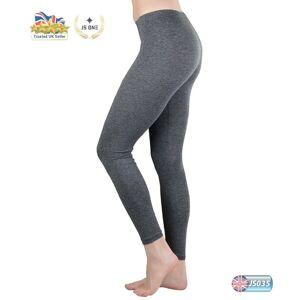 JS One (Dark Grey, 2XL / UK Size 18-20) Ladies Plain Stretchy Viscose Full Length Leggi