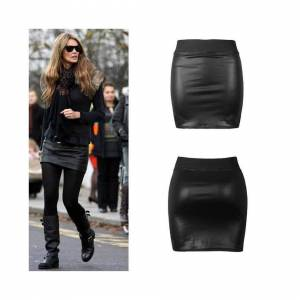 Love Celeb Look (12) Women's Elasticated Waist Band Wet Look PVC Shiny Short Mini Skirt