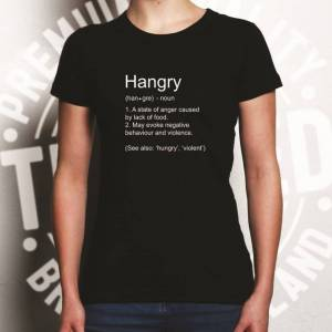 """Tim And Ted (M, White) Novelty Food Womens TShirt The Definition Of """"Hangry"""" Hungry Angry Pu"""