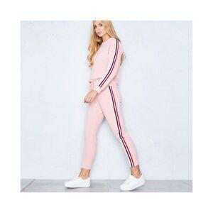JS One (Pink, S / UK 6-8) Womens 2Pcs Plus Size Lounge Sports Wear Tracksuit Pants & To