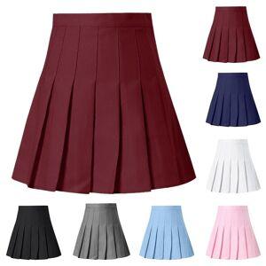 Slowmoose (Navy, XXL) A-Line High Waist Pleated Mini Skirt Satin Women,s Fashion Slim Casu